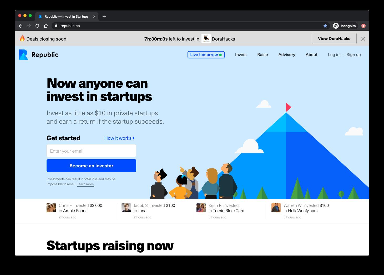 Crowdfunding with Republic screenshot